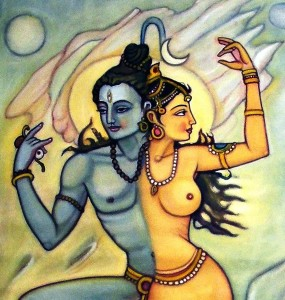 Shiva-shakti Or Soul-nature is a painting by Upendra Ratra